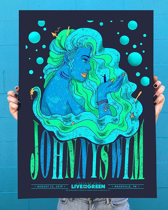 Poster design done for @johnnyswim for the @liveonthegreen music festival 🌊 four color screen print on @frenchpaperco • printed at @friendlyarctic 🌊