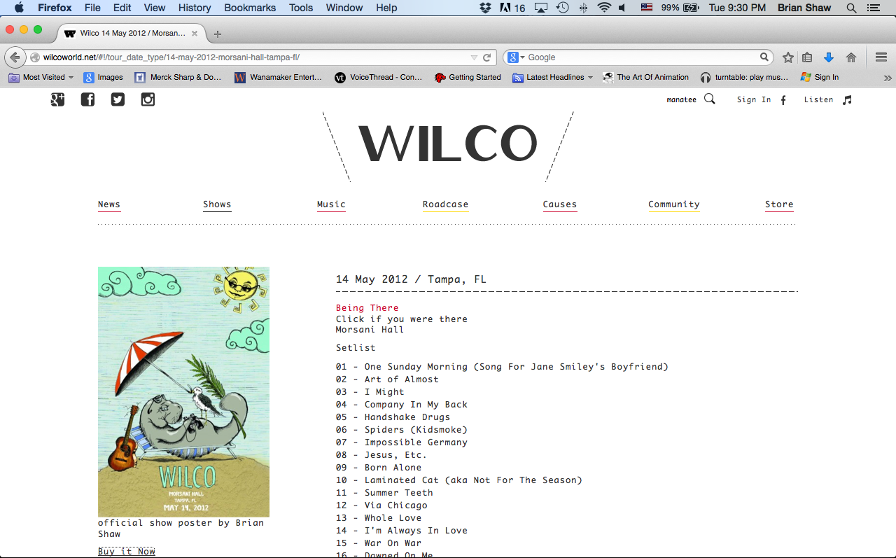 Poster displayed in Wilco's tour archives