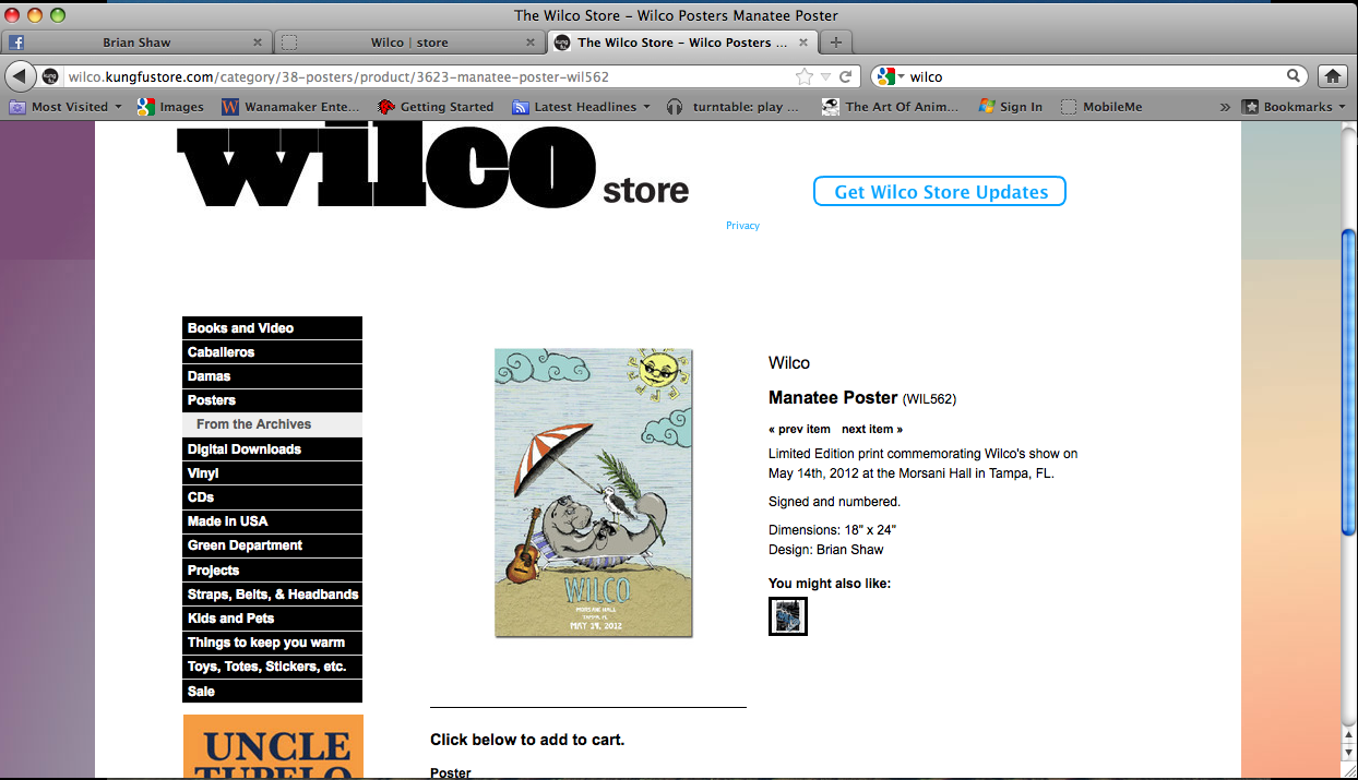 Poster available for sale in Wilco's online store