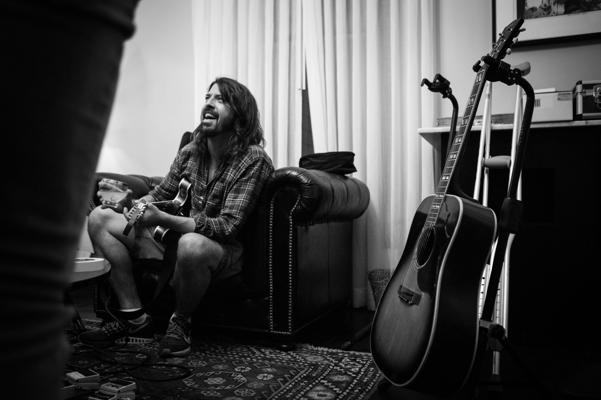Dave Grohl of the Foo Fighters Recording St. Cecilia in Studio in Austin