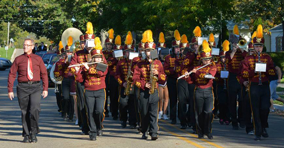 Potterville Marching Band in a parade