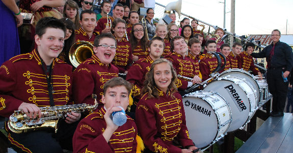 Potterville Marching Band in the bleachers