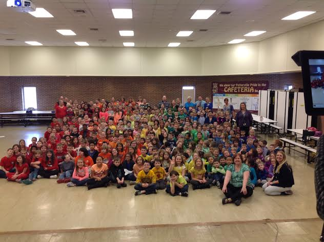 Potterville Elementary students in rainbow colored shirts
