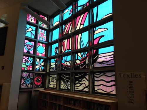 Stained glass window: Viking ship