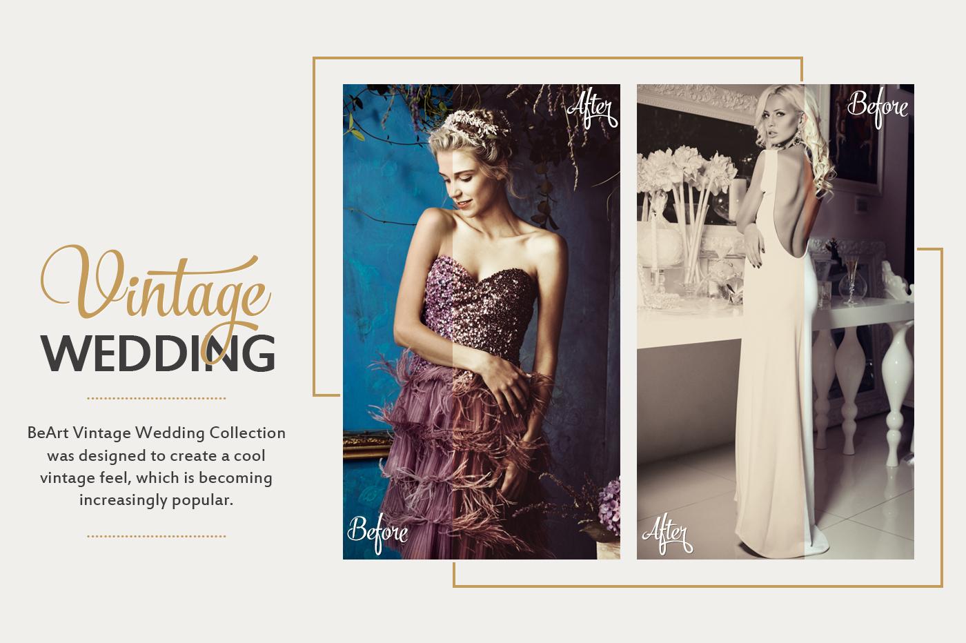 Vintage Wedding Lightroom Presets, Photoshop actions & Camera RAW Presets by @BeArtPresets
