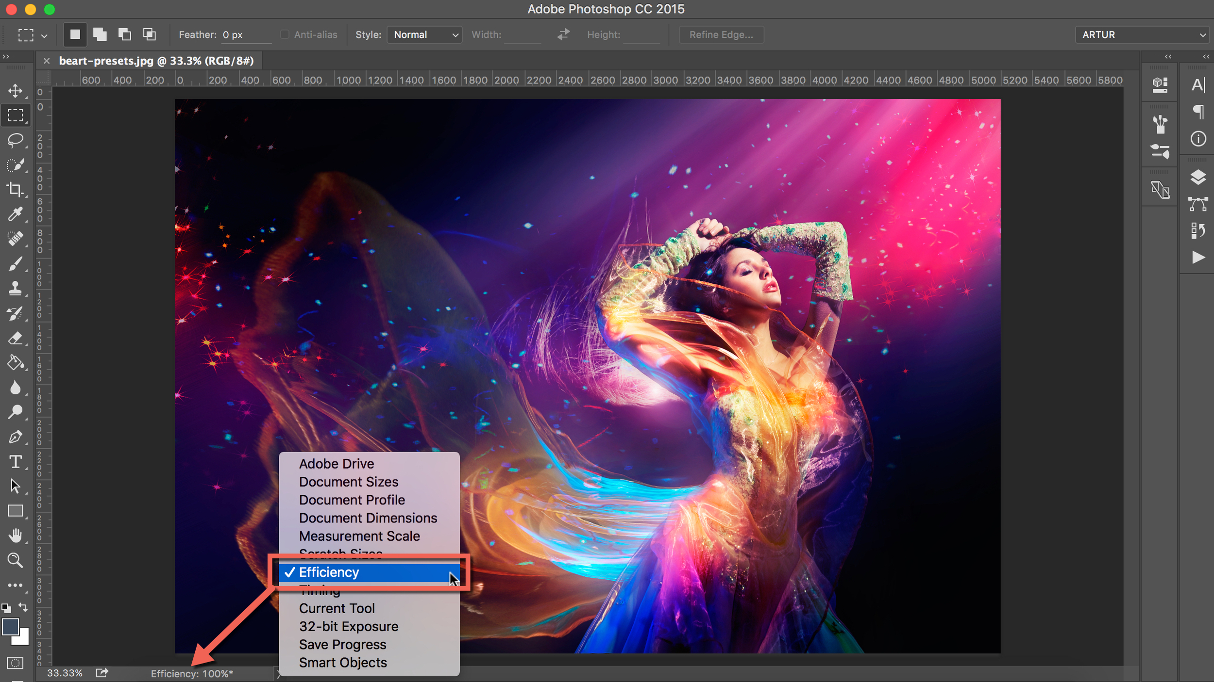 efficiency indicator for photoshop cc