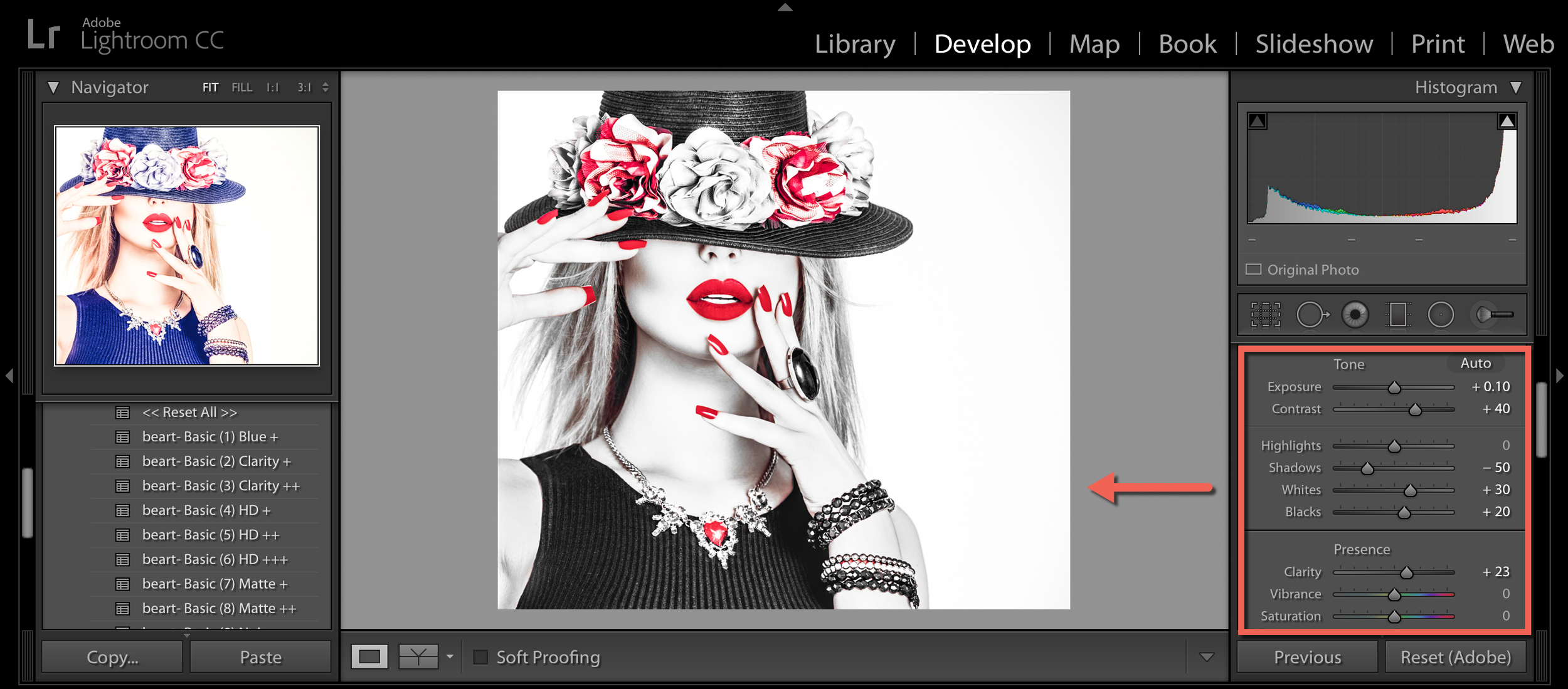 enhance your photo in lightroom cc