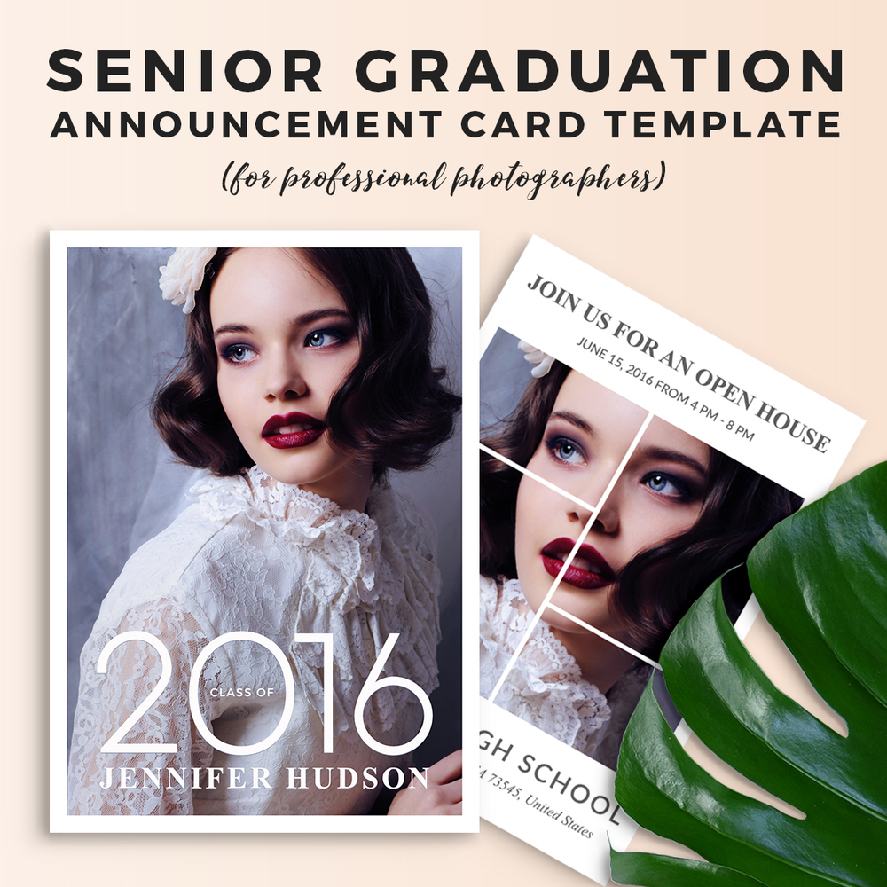 Boy Graduation Announcement PHOTOSHOP TEMPLATE Senior Graduation Announcement 15