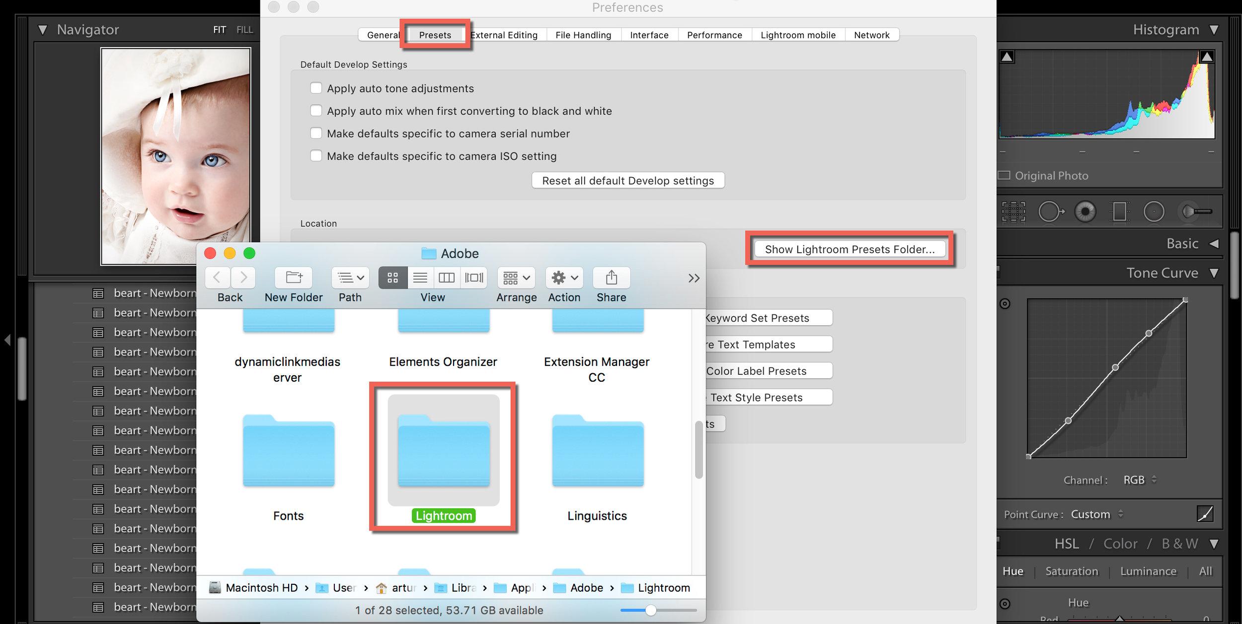 how to save your lightroom presets folder