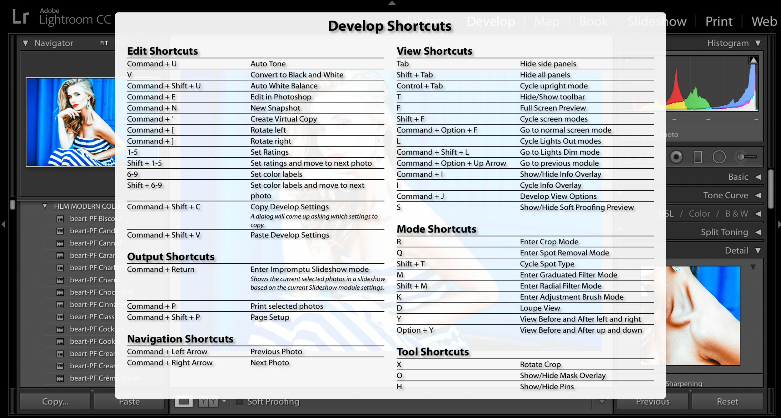 shortcuts in adobe lightroom cc