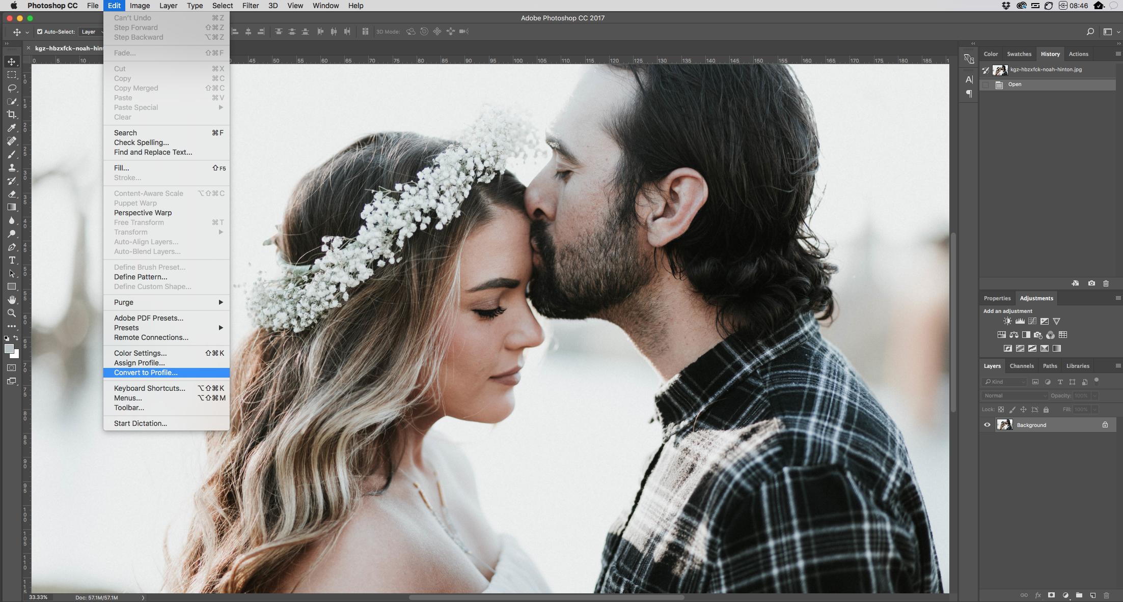 sRGB vs AdobeRGB option in Photoshop