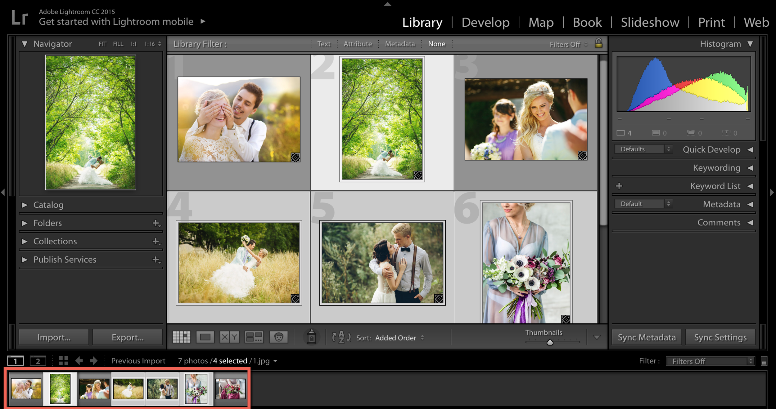 select photos in lightroom