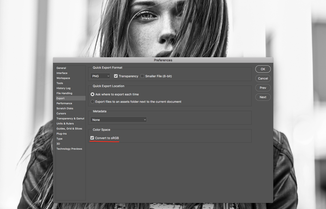 1. Use sRGB photo. These images look washed out when they're posted or shared online. (Preferences -> General -> Quick Export) -