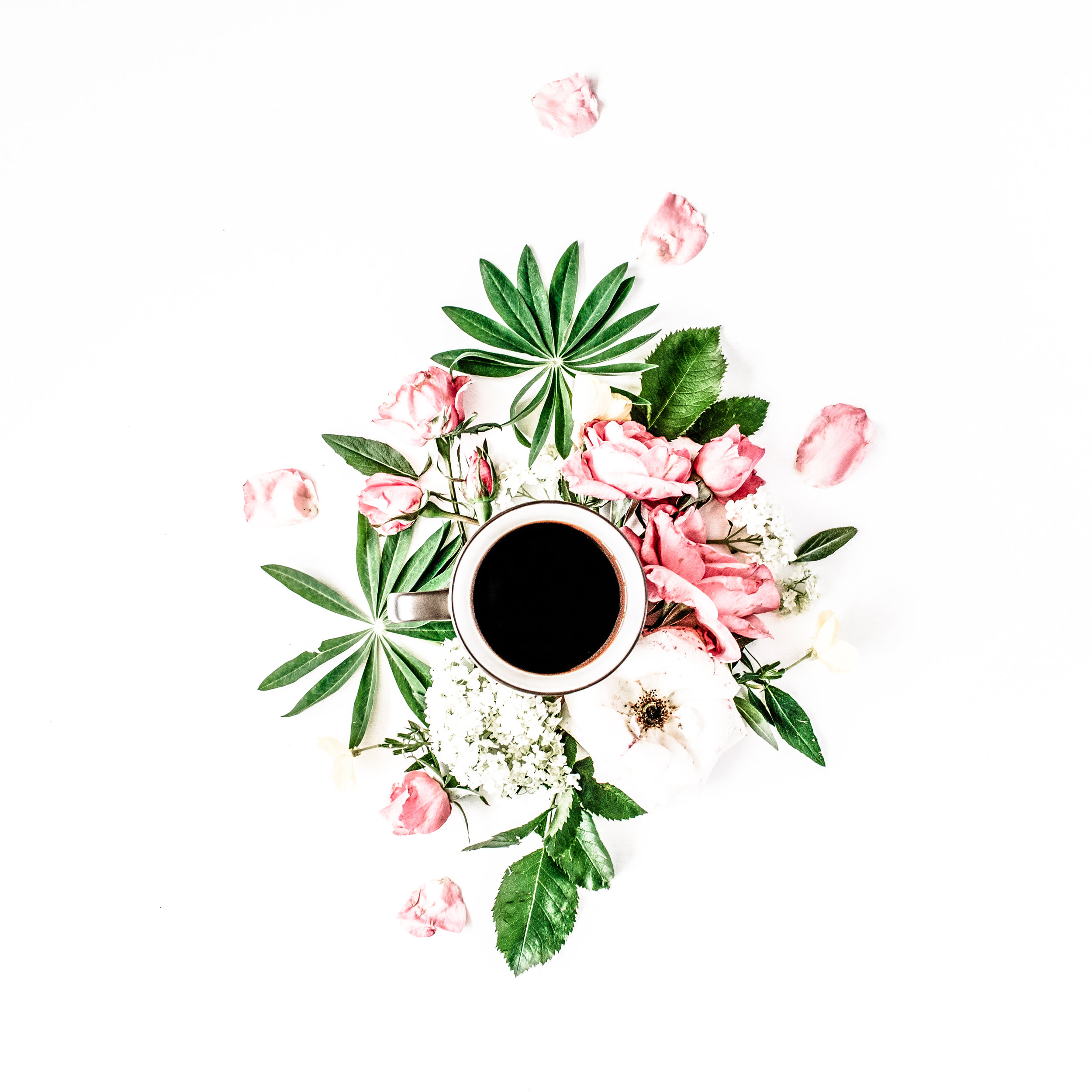 black coffee mug pink roses and white hydrangea flowers bouquet on white background. flat lay top view