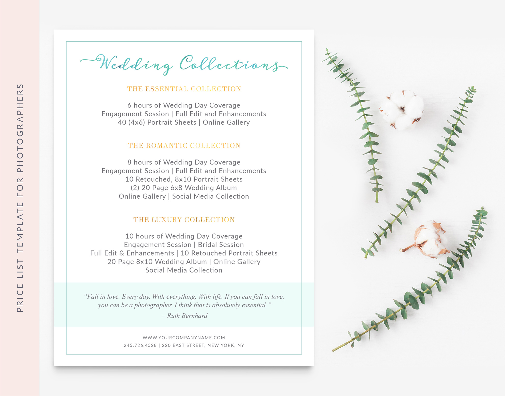 Price Sheet Template for wedding photographer
