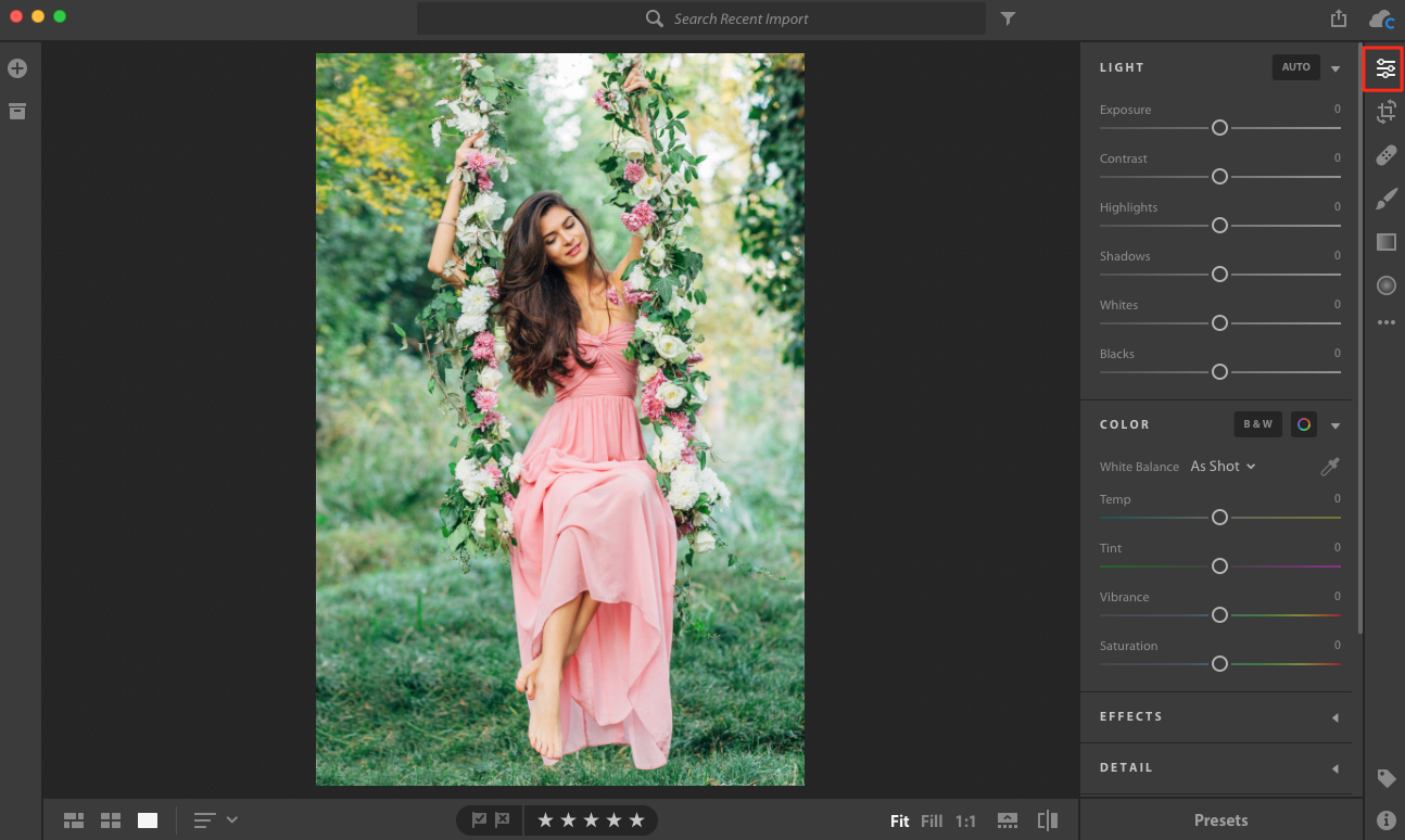 editing section in Lightroom CC