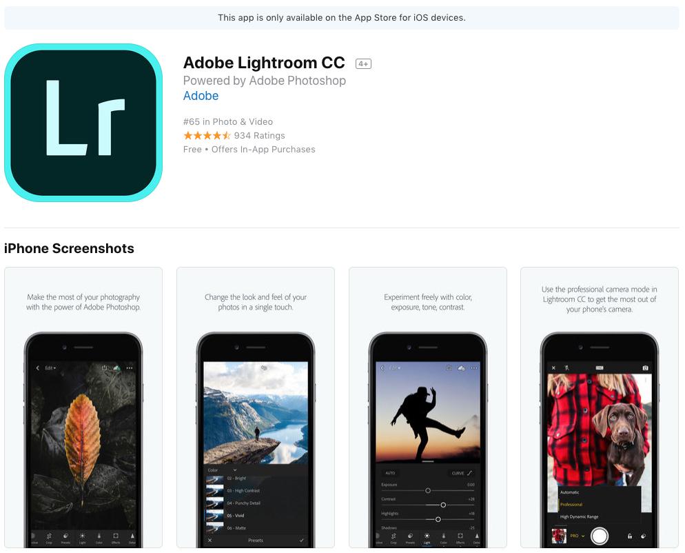 adobe lightroom cc app