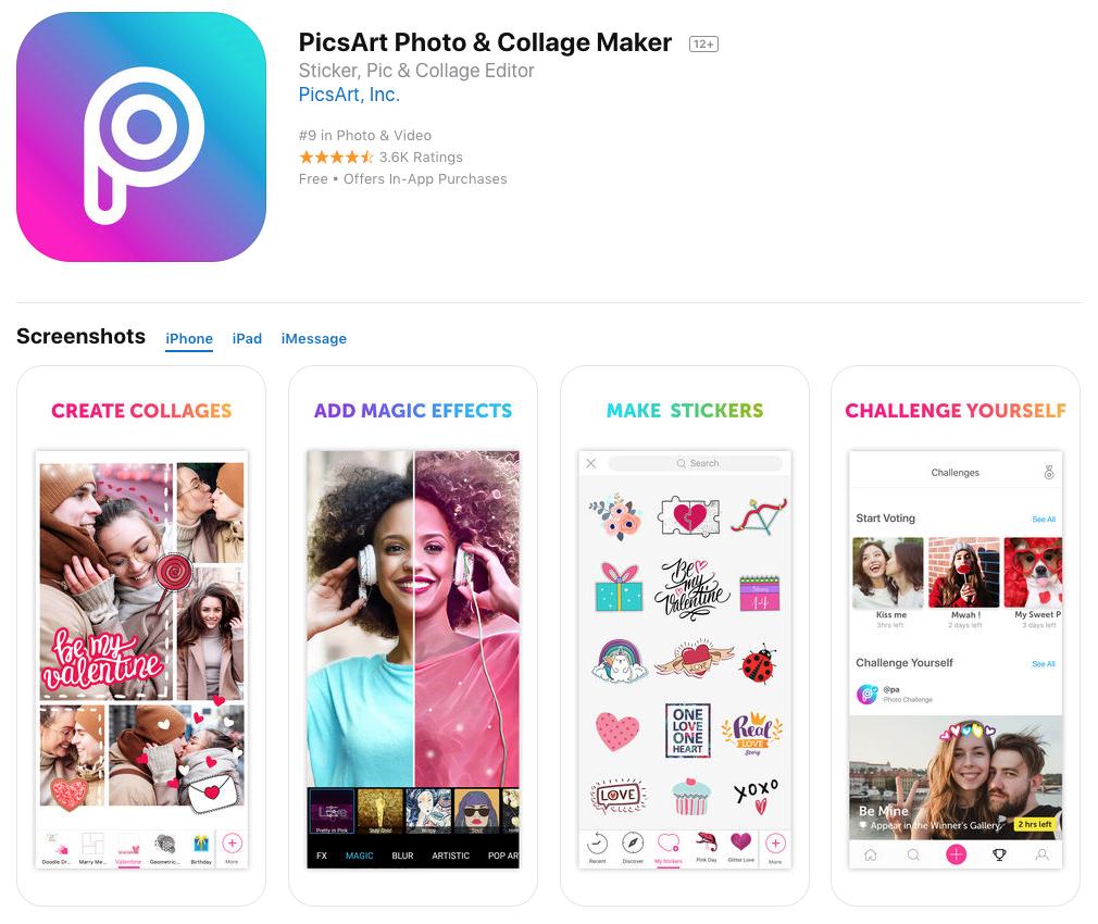 picsart photoediting app