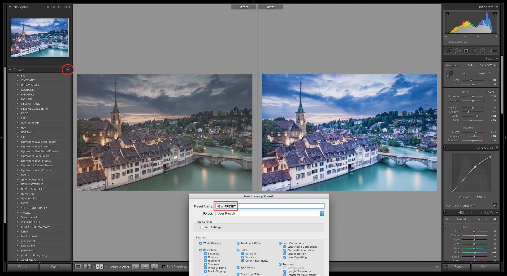 create new lightroom preset