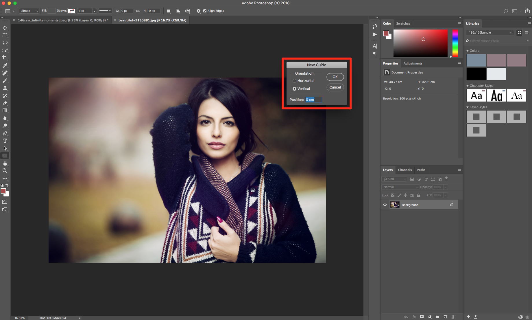 new guide in Photoshop