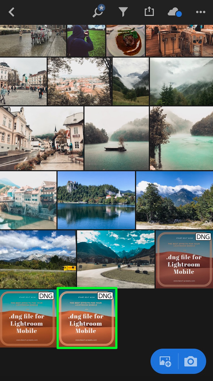 6. .dng file will install in Lightroom Mobile -