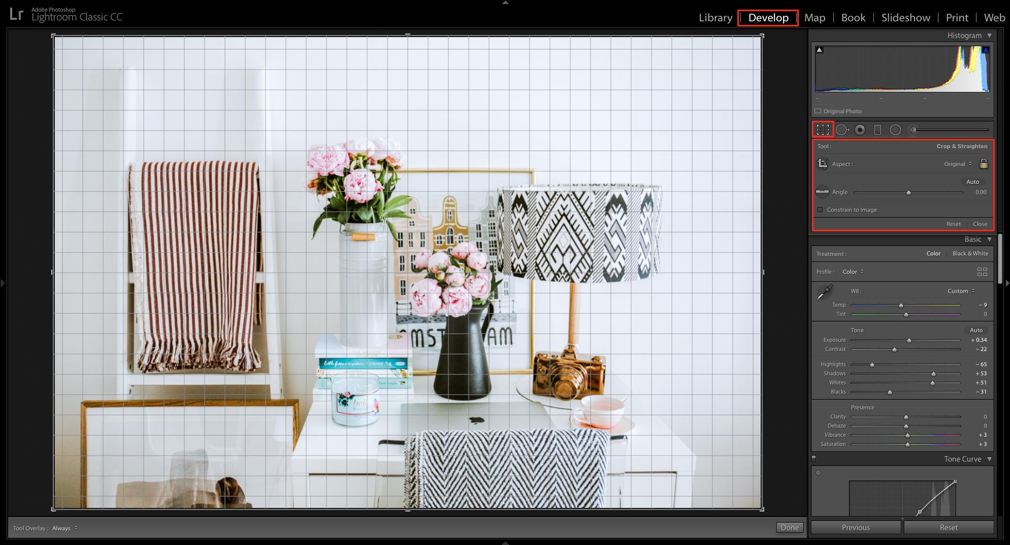 crop and straighten tools in lightroom