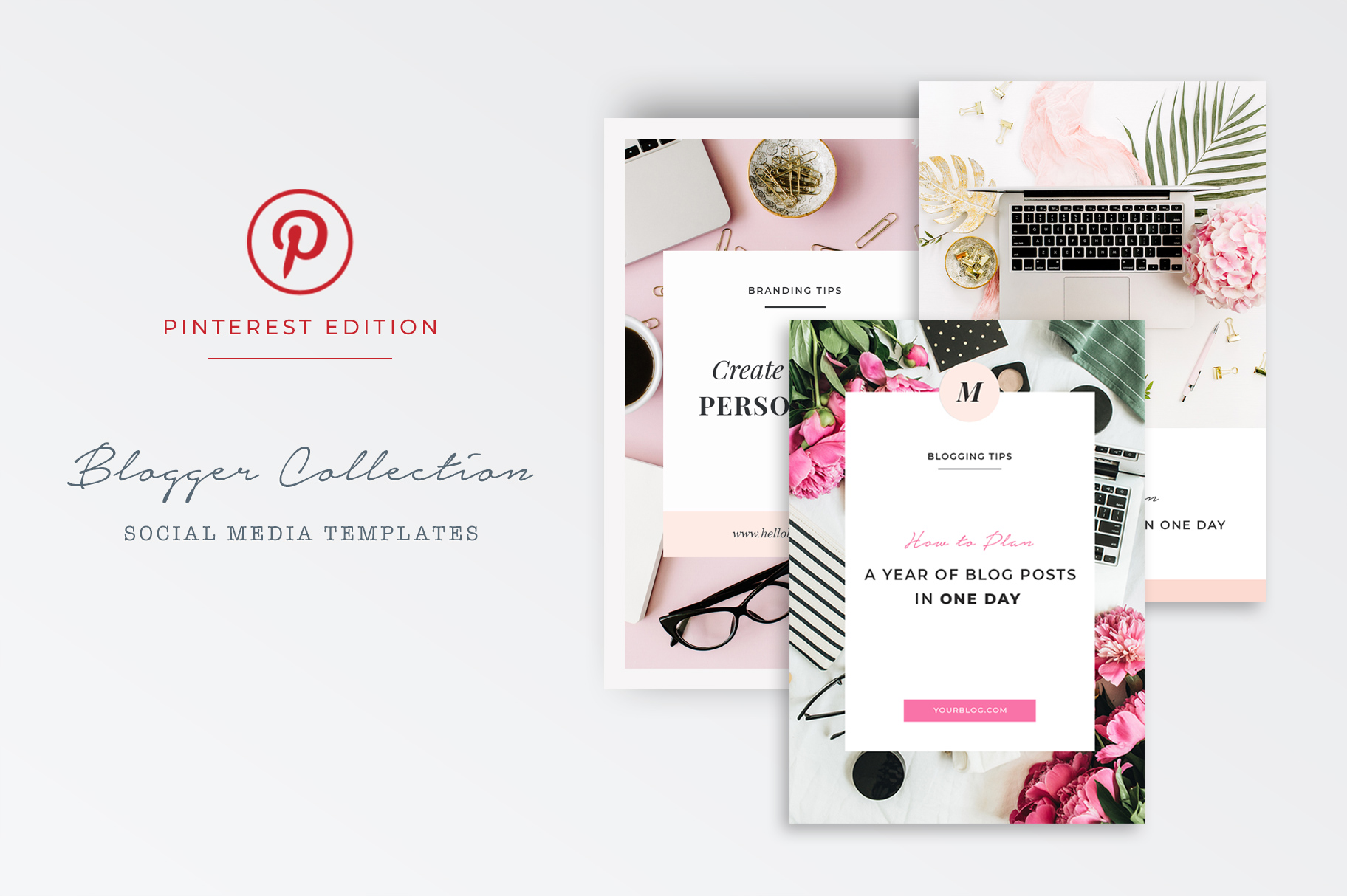 Fully customizable Pinterest Graphic Templates for Photoshop