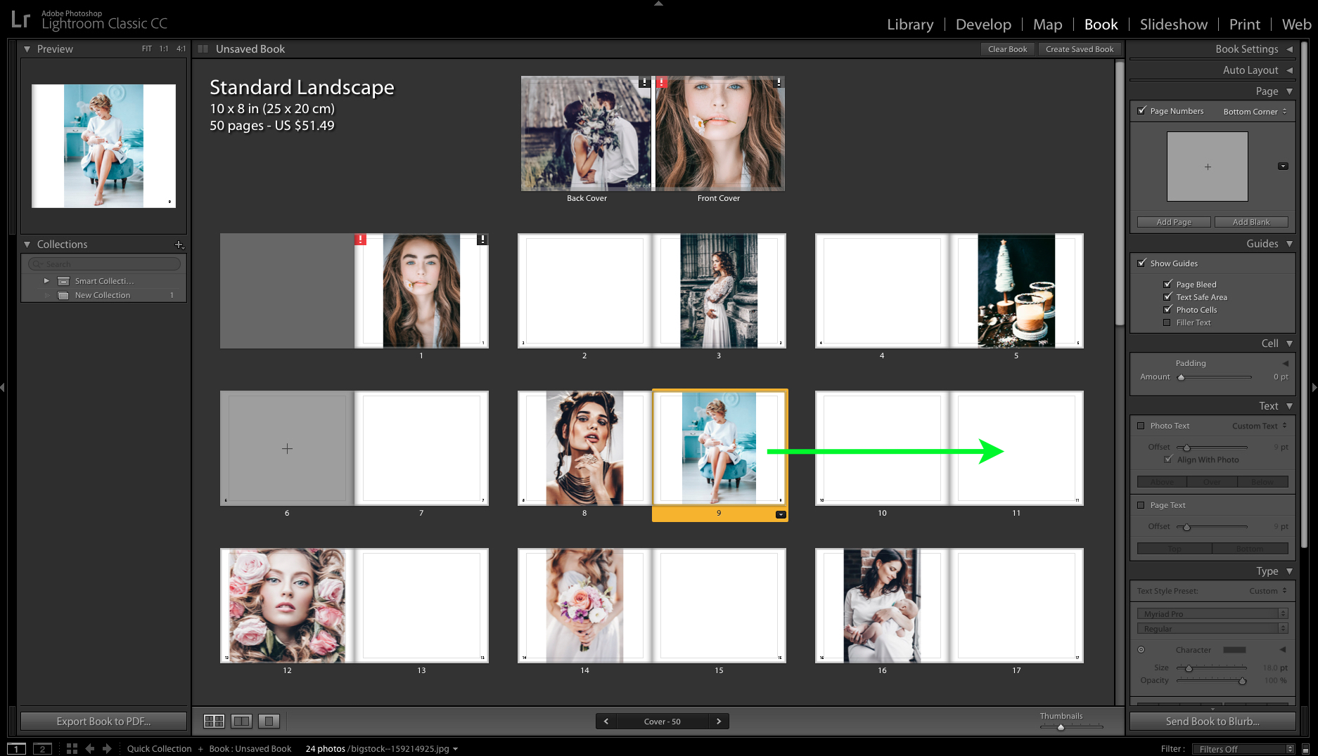 move a page in lightroom book