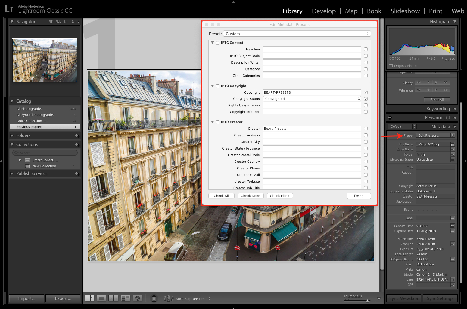 Edit metadata preset in lightroom