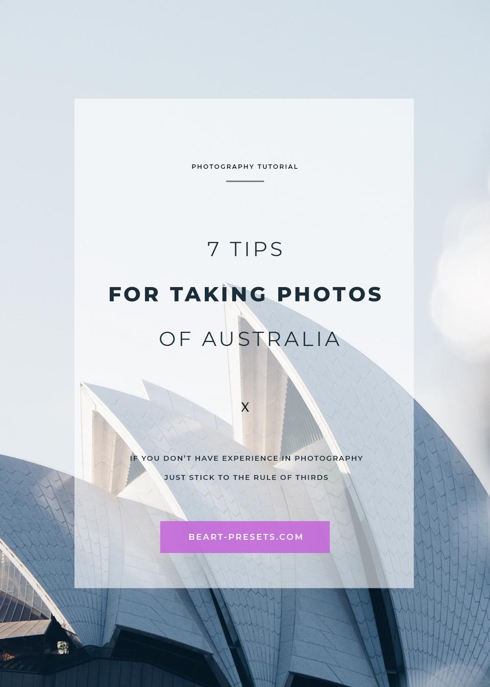 tips for taking photos of Australia