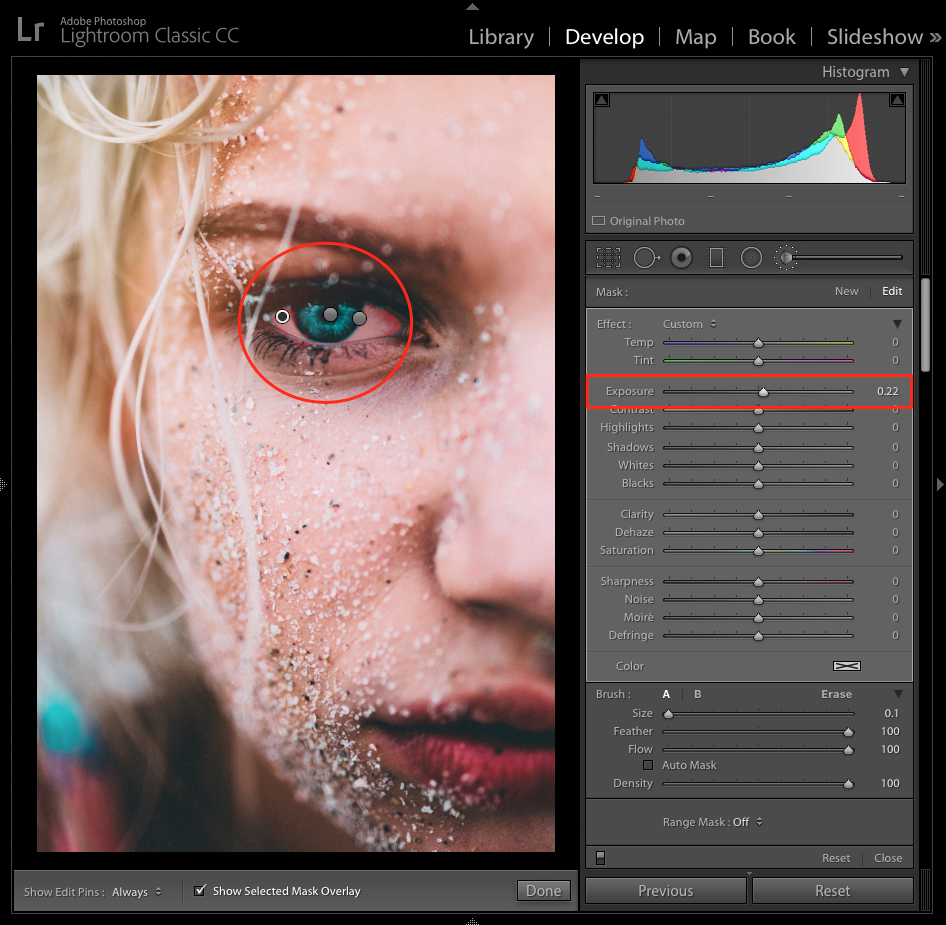 adding white color to eyes in lightroom