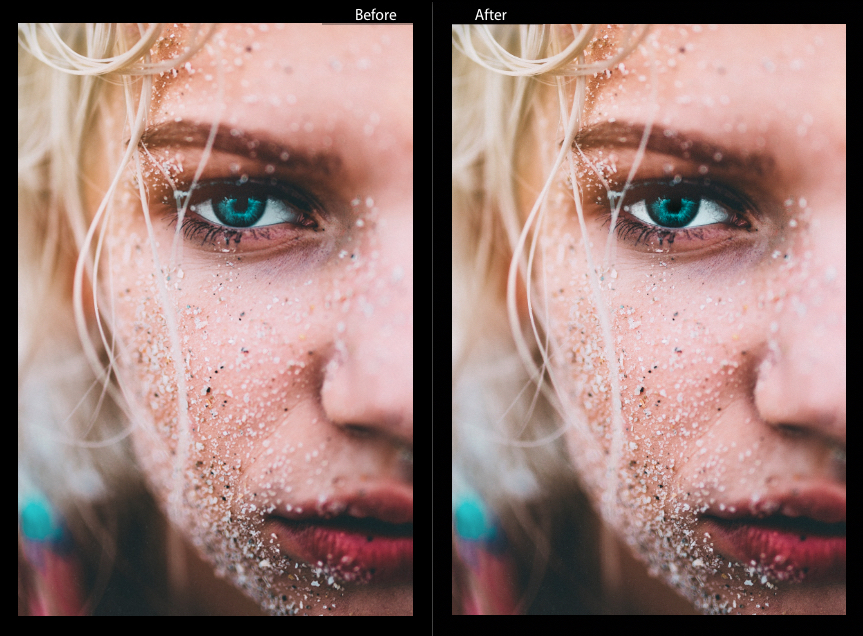 before and after eyes in lightroom