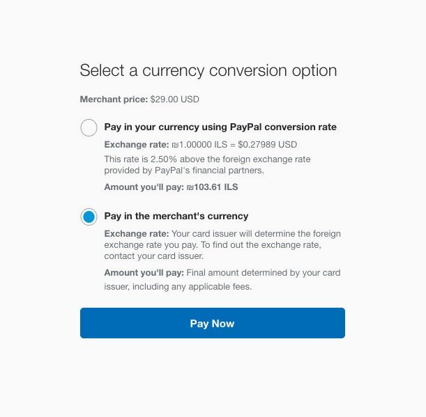 select a payment option