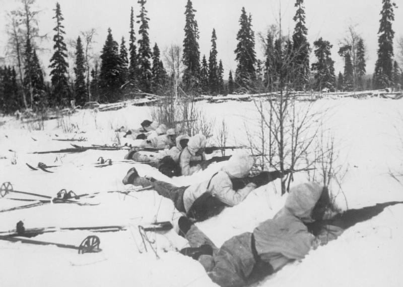 Finnish ski troops take cover in Northern Finland, January 1940.