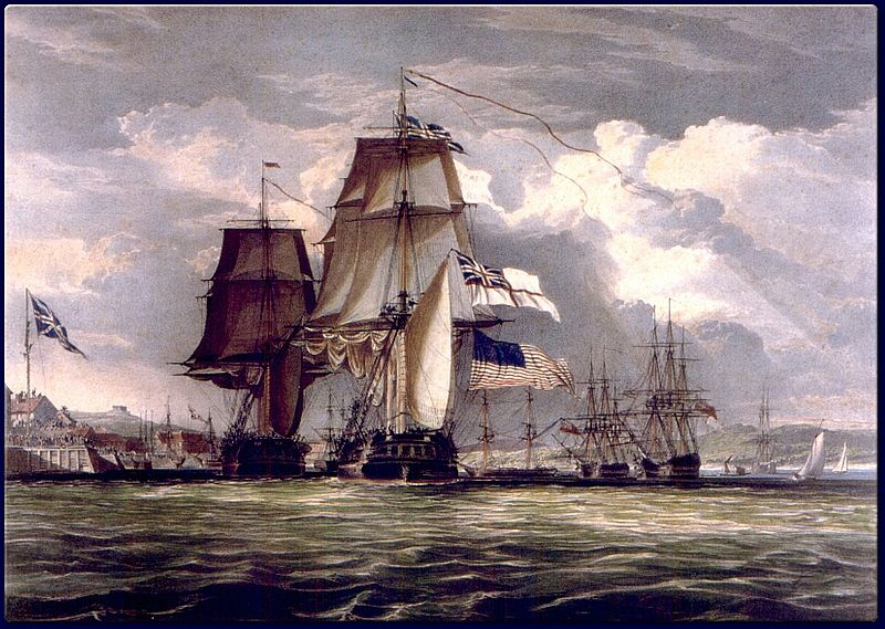 HMS Shannon escorts the captured USS Chesapeake into Halifax in June 1813.