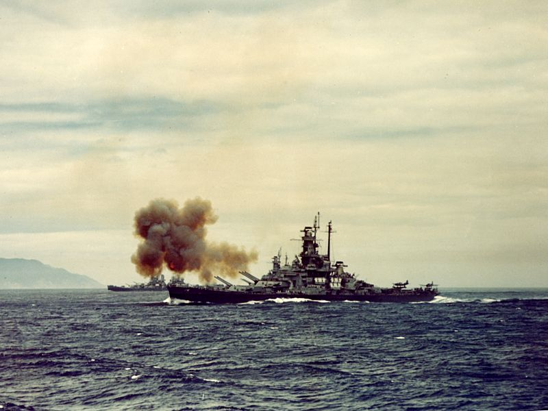 Indiana bombards Kamaishi, Japan, 400km to the north of Tokyo on July 14, 1945. This was the first naval bombardment of the Japanese Home Islands during the war.