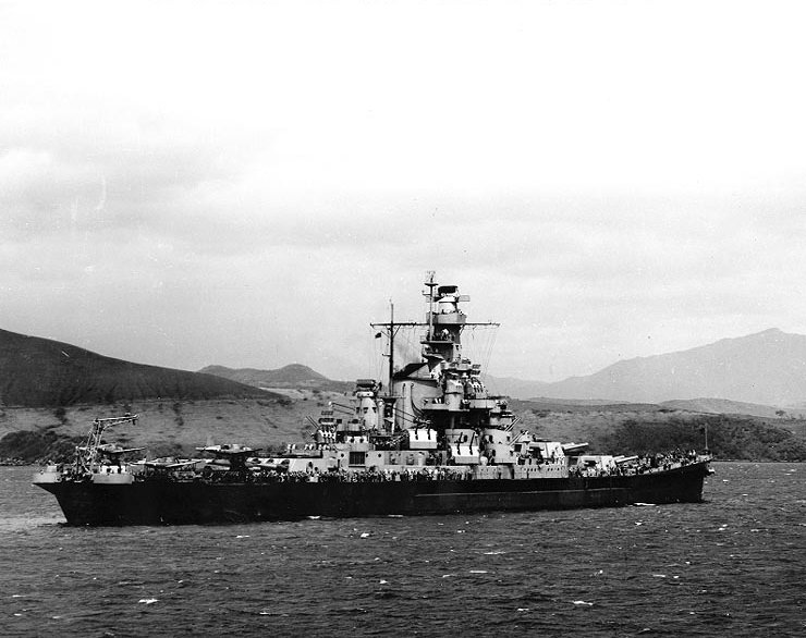 The USS  Indiana  in November 1942, not long after she reached the Pacific.