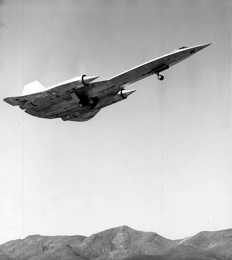 The Lockheed A-12 undergoing flight testing at Groom Lake, also known as Area 51.