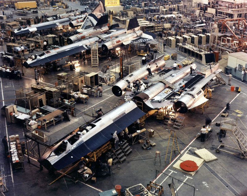The SR-71 Blackbird production line at Lockheed's Skunk Works factory.