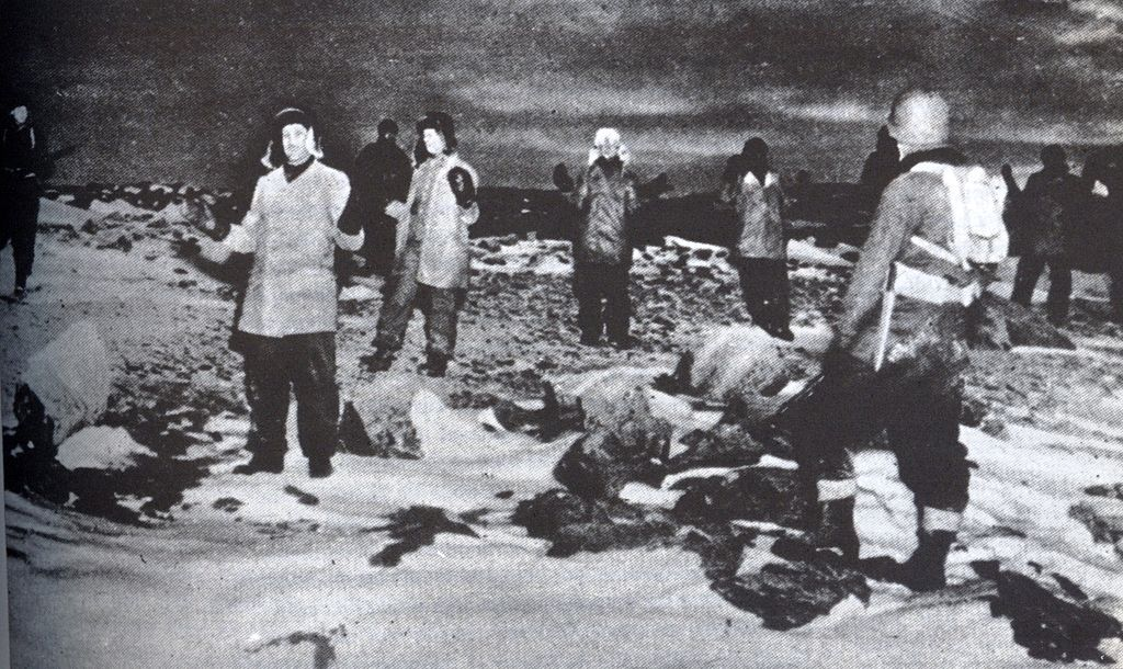 Members of the last German weather station in Greenland surrender to US troops on October 4, 1944.