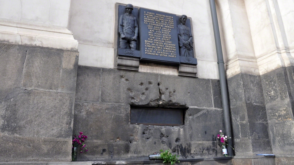 THE EXTERIOR OF THE CHURCH AS IT APPEARS TODAY. STILL POCKMARKED WITH BULLET HOLES, A MEMORIAL IS IN PLACE ON THE EXTERIOR OF THE CHURCH AS A REMINDER OF THE LAST STAND OF THE ASSASSINS.