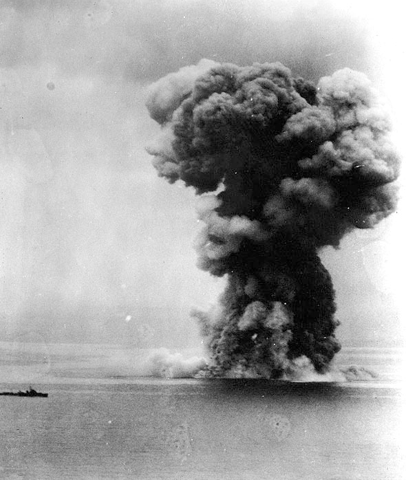 The Yamato's magazines explode due to internal fires- she sank with the majority of her crew.