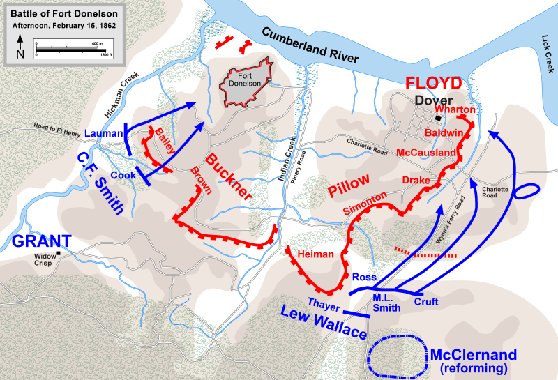THE SITUATION AT FORT DONELSON ON THE AFTERNOON OF FEBRUARY 15. SOURCE: PUBLIC DOMAIN.