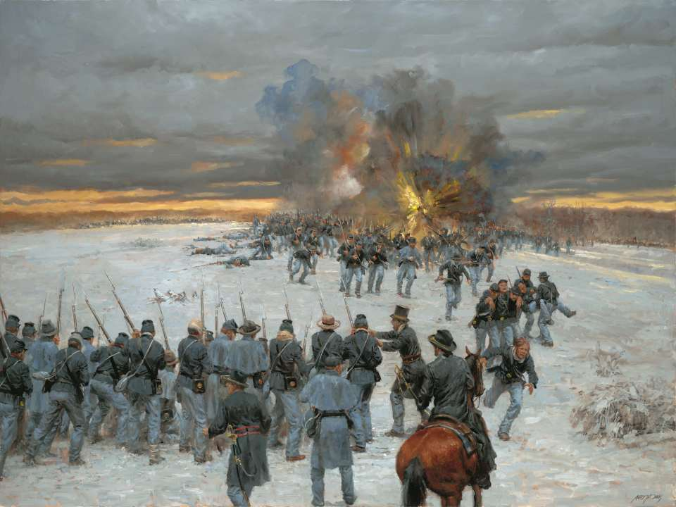 CONFEDERATE SOLDIERS ATTEMPT TO BREAK OUT OF THEIR ENCIRCLEMENT ON FEBRUARY 15TH. INITIALLY SUCCESSFUL, THE ATTACK WAS CALLED TO A HALT IN MID-AFTERNOON, THEN WAS COUNTERED BY UNION FORCES LATER IN THE DAY. SOURCE: WWW.NPS.GOV