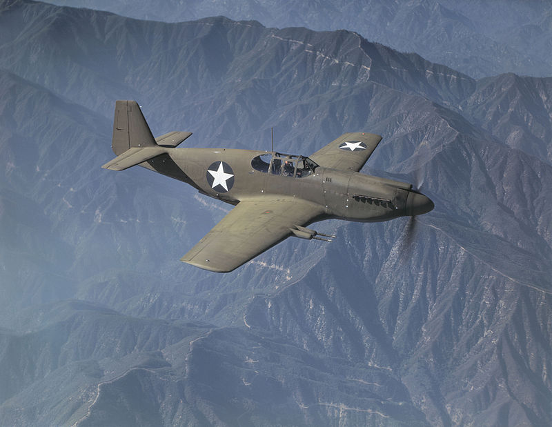 This P-51A is one of the production versions ordered to British standard, evident by the four Hispano 20mm cannons which arm this aircraft, rather than the normal six .50 caliber machine guns. Some of these aircraft were retained by the USAAF. Source: Wikipedia.