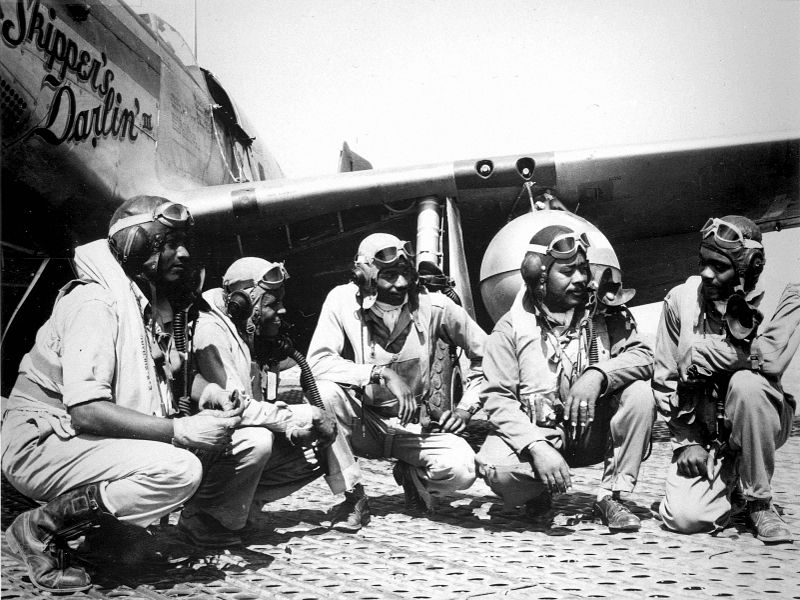 Among the operators of the P-51 was the 322nd Fighter Group, popularly known as the Red Tails or Tuskegee Airmen. Source: Wikipedia.