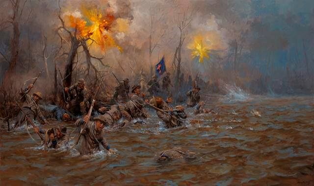 Breckenridge's Division, having sustained 1800 killed or wounded in less than an hour at the hands of 58 Union guns, retreat back across the river.