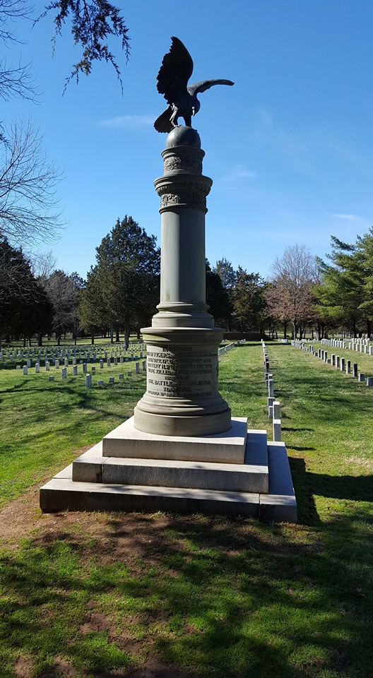 A monument to the Union dead who are buried in this cemetery stands at its center.
