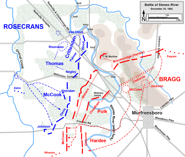 The tactical situation on December 30, 1862.