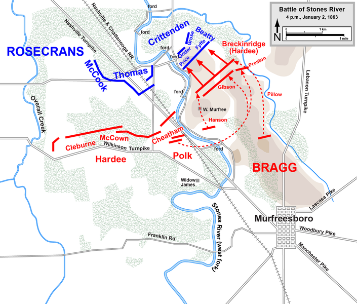 Breckenridge's division attacks the Union positions atop a hill near the river.
